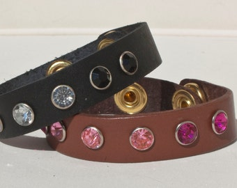 Leather Bracelet with Rhinestone studs