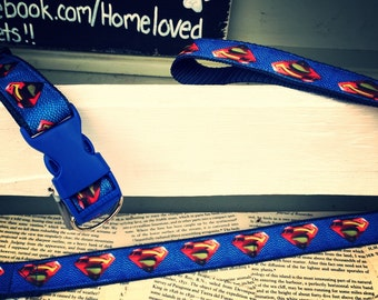 Superman .Bespoke handmade dog collar & lead tailor made for your furry friend