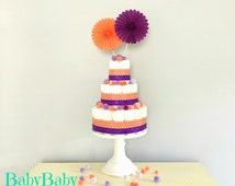 Orange and Purple Diaper Cake, Fall Colors, Halloween Diaper Cake and Centerpiece