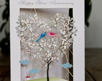 Happy Silver Anniversary Card, Laser Cut-out Love Birds