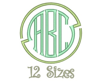 Seal Circle Monogram Embroidery Font 12 Sizes Machine BX Embroidery Fonts Embroidery Monogram Fonts 3 Letter Monogram - Instant Download