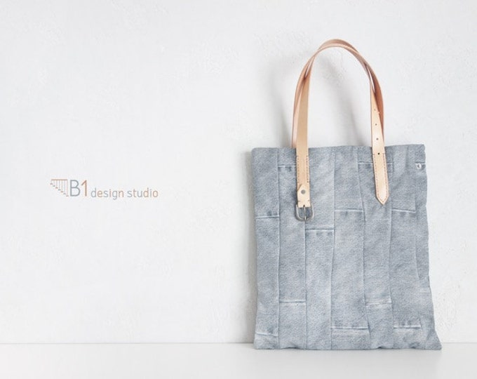 Denim Tote Bag, Grey Denim Handbags, Vintage Tote Bag, Leather Tote Bag, Vintage Jeans Bag, Gift for Her, Handmade tote bag, Street bag