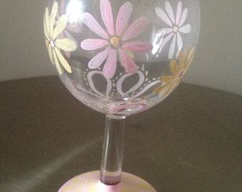 Hand painted shabby chic flower design red wine glass