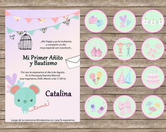 Invitation birthday, baptism, Nena.Toppers Cupcakes.Vintage, Retro, Shaby chic colors cake