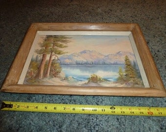 Vintage oil painting of Coloraod mountains