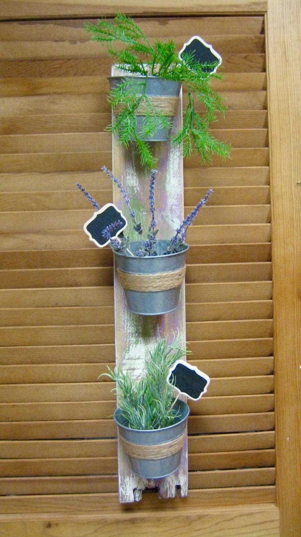 rustic wall mounted planter hanging herb garden bucket. Black Bedroom Furniture Sets. Home Design Ideas