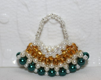 Beaded Tote bag collectible-figurine; handmade, beadweaving, colorful, cute