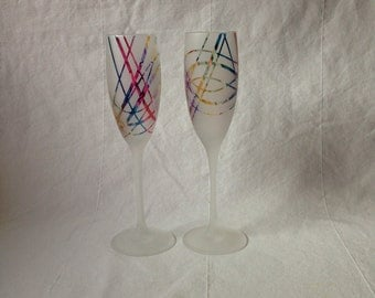 Confetti patterned champagne flutes (pair)