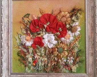 Poppies Silk Ribbon Embroidery