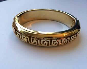 Greek key hinged bangle