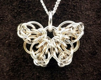 Tiny Celtic Butterfly Chainmail Pendant - Sterling Silver & 14kt Gold Fill with 18 Inch Chain