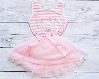 Second Birthday Outfit Girl, Two Dress, Pink and Silver Birthday