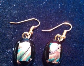 Black Dichroic Earrings