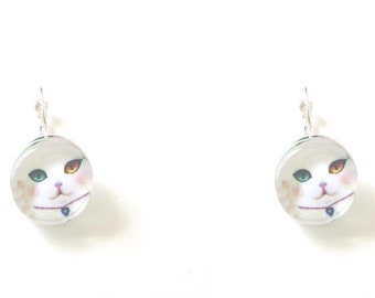 Earrings cabochon cat