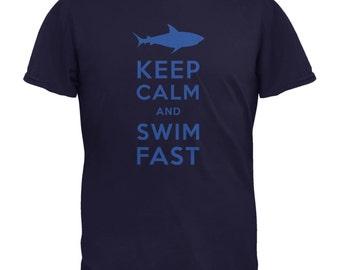 Shark Keep Calm and Swim Fast Navy Youth T-Shirt