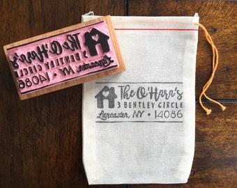 Custom Address Stamp, Hand Carved Stamp, Return Address Label