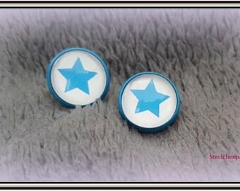 """Blue cabochon earrings """"Blue Star"""""""