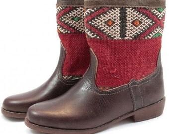 Kilim WYDAD brown leather boots