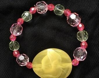 Pink, Green, Yellow Stretch Beaded Bracelet Fashion Jewelry