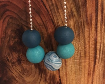 Teal Green polymer clay bead necklace