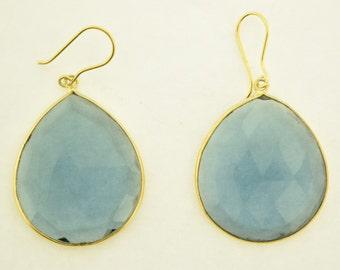 Blue Quartz Earrings in sterling silver