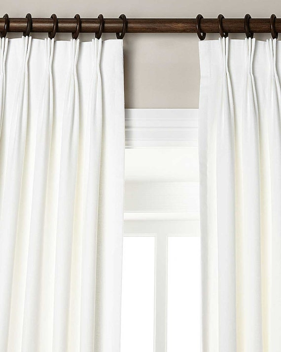 White orgnic linen pinch pleated lined 27 wide by bharatusaltd for Lined valances for living room