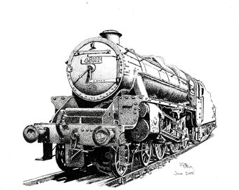 Pen & Ink Drawing, A4 - Steam Train