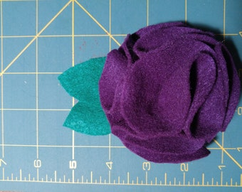 Purple Felt Flower French Hair Clip