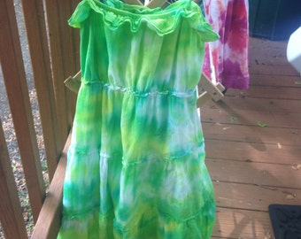 Green and yellow tie-dye dress