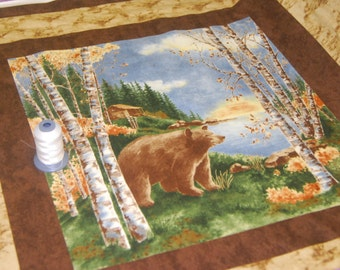 Wilderness Bear and Moose Fabric Birch Bark Lodge Panel by Moda Fabrics High Quality Cotton CT #108373 - by the Yard