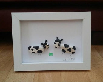 Cute cow Pebble art picture