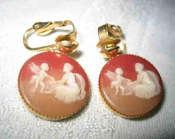 Vintage Lady & Child with wings cameo Earrings