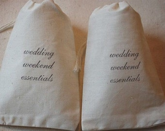 10 wedding weekend essentials muslin cotton party favor bags 4x6 inch - great for bridal showers, bachelorette parties, weddings