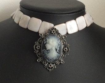 Cameo and Mother of Pearl Necklace