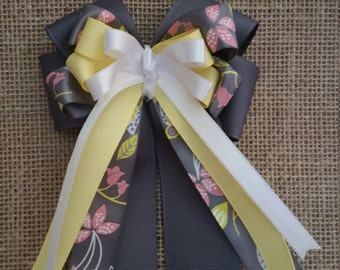 Equestrian Show Bows- yellow and grey hair bow