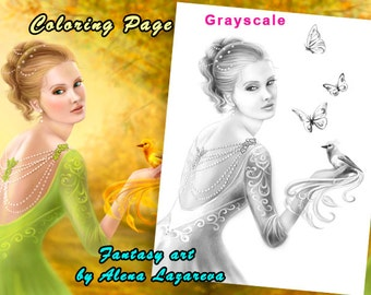 Coloring Page, Grayscale illustration for coloring .Beautiful romantic woman and fantasy gold bird