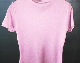 Vintage Purple/Pink Crew Neck Lycra Tee 1980s