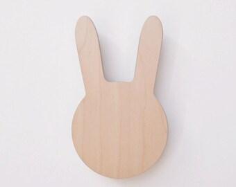 Natural bunny wall hook, bunny wall decor, wood hook, Minimal wall decor, coat hanger, entry coat hooks, nursery wall hooks