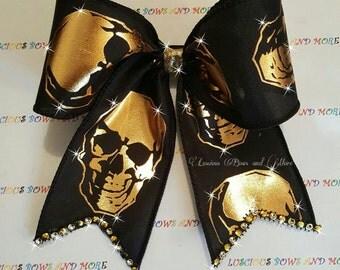 Skeleton Cheer bow, Skull Hair Bow, Halloween Cheer Bow, Halloween Bow, Skeleton Bow, Skeleton Hair bow, Skull Hair Bow, Skull Bow