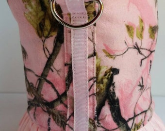X-Small Dog Harness Dress in Pink Camo