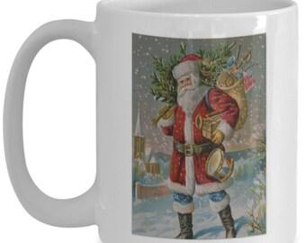 Vintage Santa Claus Christmas Ceramic Mug   Great Christmas Gift