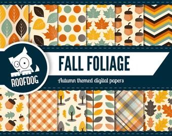 Fall digital paper   autumn digital paper   fall leaves digital paper pack instant download   fall foliage digital paper   autumn leaves