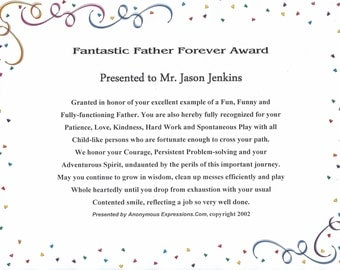 Fantastic Father Forever Award, Customized, Fathers Day Gift