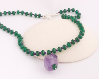 Emerald and Amethyst Necklace