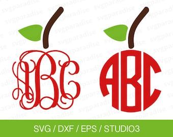 Apple Monogram Topper SVG, Apple SVG, Apple Monogram SVG, Teacher, Back To School, Svg, Eps, Dxf, Studio3 use with Cricut & Silhouette