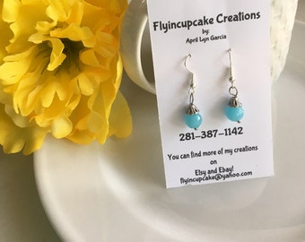 Silver Plated Baby Blue Dangle Earrings