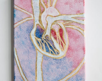 Gold Leaf Heart Anatomy Canvas Painting