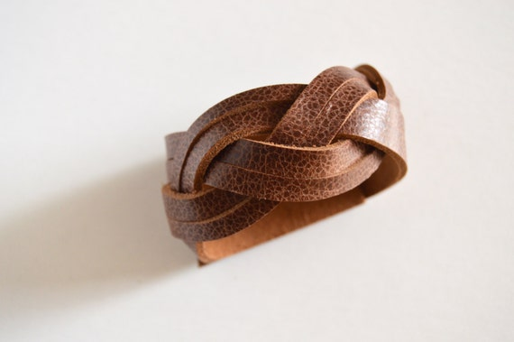 Wide Braided Leather Cuff:  Genuine Leather Brown Magic Braided Leather Bracelet