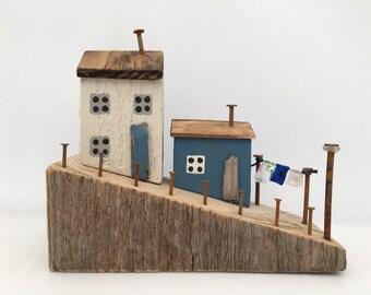 Seaside Cottage Scene, Rustic Ornament, White and Blue