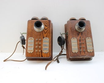 Vintage Oak Intercoms (Pair) S.H. Couch Company